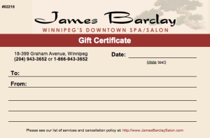 Once received, a Gift Certificate builds a mental Spa experience for the recipient.